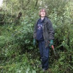 Sandra during reed bed restoration, Brixham, Devon