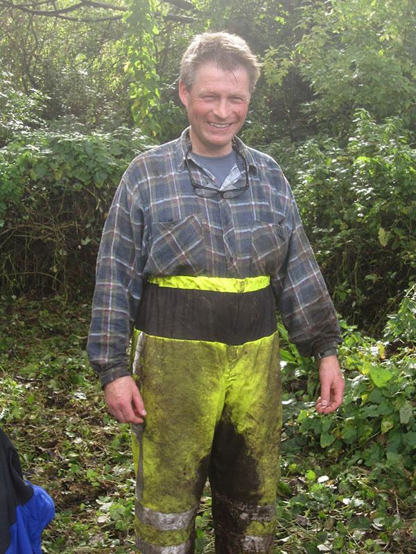 Clive at reed bed restoration, Brixham, Devon